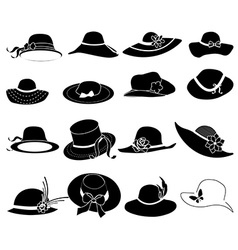 ladies hats icons set vector image vector image
