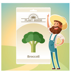 pack of broccoli seeds icon vector image