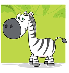 Smiling zebra character with background vector