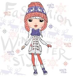 Beautiful fashion girl in winter vector