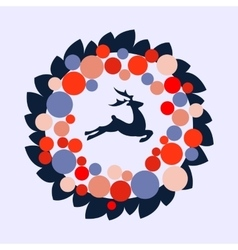 christmas wreath with color ball and deer vector image