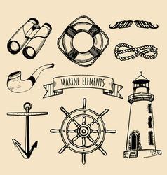 marine set nautical elements hand vector image
