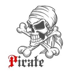 Pirate skull sketch with crossbones vector image vector image
