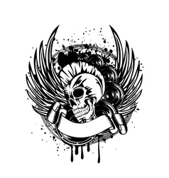 punk with wings sign vector image vector image