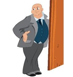 Retro hipster bold man standing near the door vector