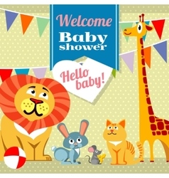 Baby shower celebration greeting invitation card vector image