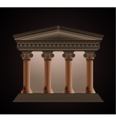 Front view of an antique greek temple in the vector image
