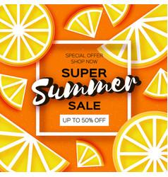Lemon super summer sale banner in paper cut style vector
