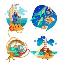 Sea Ocean Nautical Symbols Set vector image vector image