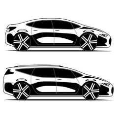 Silhouettes of cars isolated on white background vector image vector image