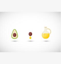 Avocado oil flat icons set vector