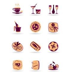 Drinks dishes appetizers and desserts vector image vector image