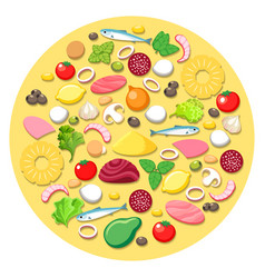 pizza cooking ingredients vector image