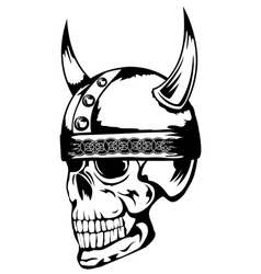 skull in viking helmet 3 vector image vector image