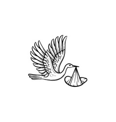 a stork carrying a wraped baby hand drawn outline vector image
