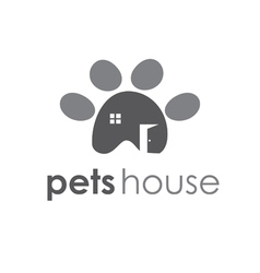 Abstract icon of pets paw with window and door vector image