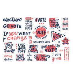 abstract objects and symbols for vote usa set vector image