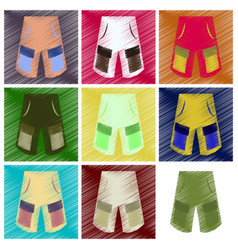 Assembly flat shading style icons clothes shorts vector