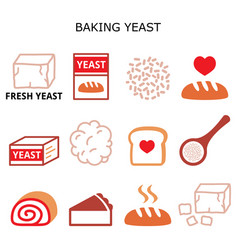 baking yeast color icons set - baking bread vector image