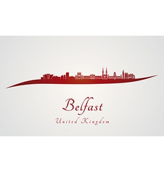 Belfast skyline in red vector image vector image