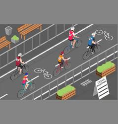 Bicycle marathon isometric vector