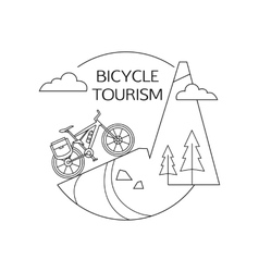 Bicycle tourism outline background Minimalistic vector image