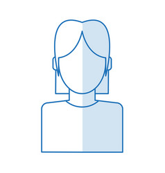 Blue silhouette shading faceless half body woman vector