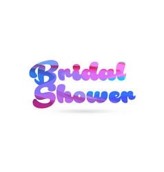 Bridal shower pink blue color word text logo icon vector
