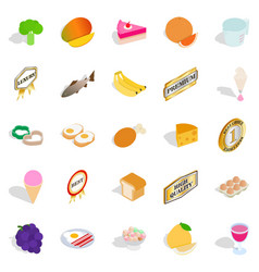 Burger icons set isometric style vector