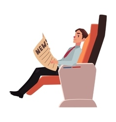 Businessman reading newspaper in business class vector