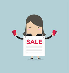 businesswoman with sale ad and flyers vector image