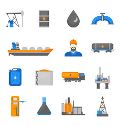 cartoon oil petroleum processing icons set vector image