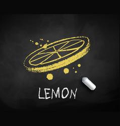 chalk drawn sketch lemon slice vector image