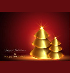 christmas and new year background gold xmas pine vector image