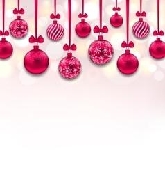 Christmas Pink Glassy Balls with Bow Ribbon vector