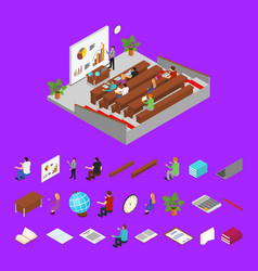 classroom interior with furniture parts and vector image