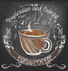 Coffee poster with hand drawn coffee mug vector