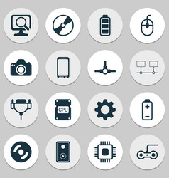 computer icons set with music speaker mobile vector image