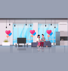 couple drinking wine man woman lovers watching tv vector image
