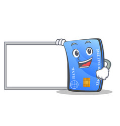 Credit card character cartoon with board vector