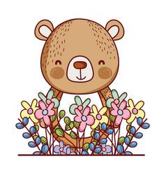 Cute animals little bear flowers leaves foliage vector