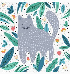 cute cat and plants hand drawn vector image