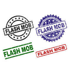Damaged textured flash mob seal stamps vector