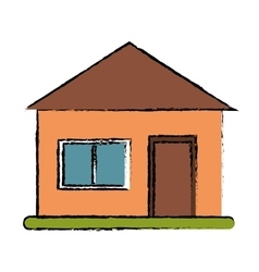 Drawing house suburban architecture green grass vector
