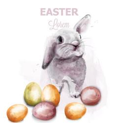 Easter bunny rabbit watercolor cute spring vector