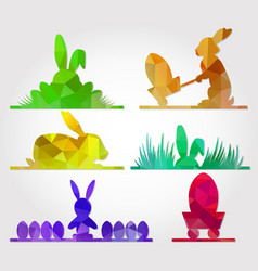easter polygonal triangle design with bunny vector image