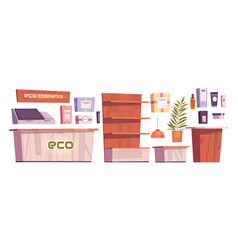 Eco cosmetics store interior stuff and furniture vector