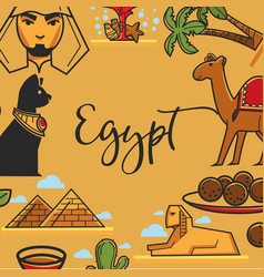 Egypt symbols poster of egyptian travel vector