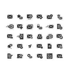 email and mail solid icon set vector image