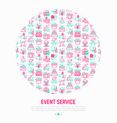 Event services concept in circle vector